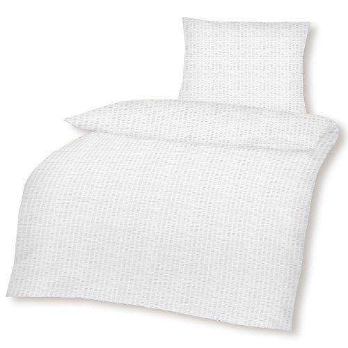 Bettwäsche 2tlg. 135x200 80x80 Baumwoll-Seersucker Uni Weiß