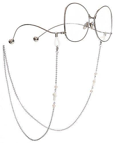 Mini Tree MINI TREE Brillenketten für Lesebrillen Perlen Brillenband Damen Lesebrille Brille Kette Sonnebrillen Band Kreuz Cords Hals Cord Strap (Silber)