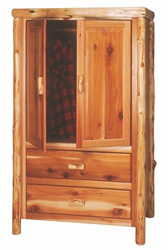 Hot Sale Fireside Lodge Furniture 12100-V Cedar 2-Drawer Traditional Value Wardrobe with Hanging Rod