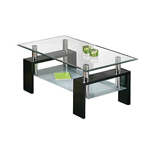 AltoBuy Base Noir - Table Basse rectangulaire Plateau Verre trempé
