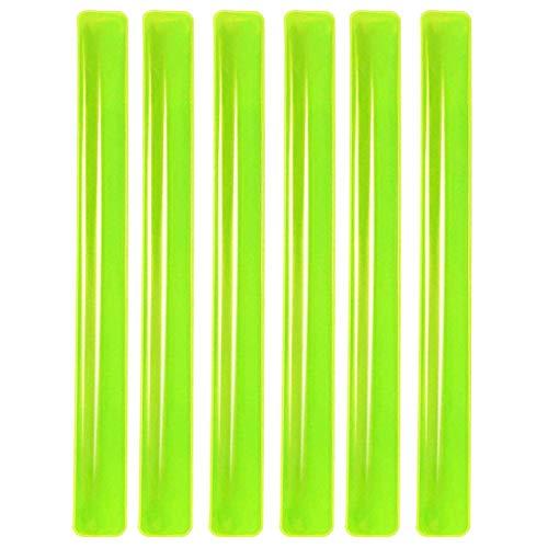 PREMYO 6er Set Reflektor Schnapparmband Reflektorband Arm Bein Kleidung Elastisch Hohe Sichtbarkeit Kinder Laufen Joggen Radfahren Outdoor Neon