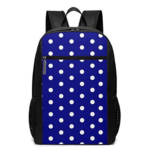 ZYWL White Blue Dots Polka Hexagon Navy.Png Rucksack, Business Durable Laptop Rucksack, Wasserbeständige College School Computer Tasche Geschenke für Männer Frauen, 17in x 12in x 6in, schwarz