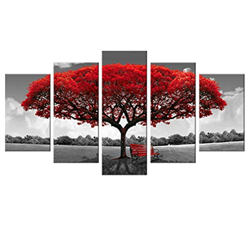 Canvas Wall Art Red Tree Picture Prints on Canvas Landscape Painting Modern Giclee Artwork Stretched and Framed Ready to Hang Canvas Art for Home Decoration (30x50cmx2pcs 30x65cmx2pcs 30x80cmx1pcs)