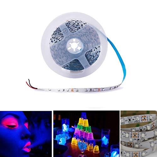 Arote UV LED Strip Schwarzlicht Streifen Band Leiste SMD 3528 UV Licht Lichterkette Lichtleiste lila, Deko Party, 5M IP20 nicht wasserdicht, 12V DC