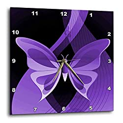 3dRose DPP_101431_1 One Large Purple Butterfly on an Abstract Background Wall Clock, 10 by 10