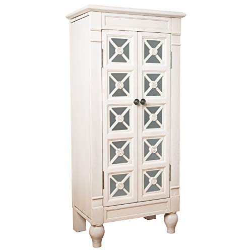 Hives and Honey Charlotte White Jewelry Armoire with Storage and Mirror