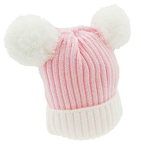 Glamour Girlz Bonnet super doux pour bébé fille garçon chaud en tricot côtelé double pompon pour bébé nouveau-né jusqu'à 12 mois (rose blanc)