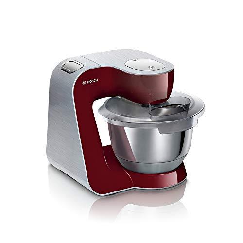 Bosch MUM58CR60 Küchenmaschine MUM 5 CreationLine Premium, 1000 W, 3,9l Edelstahlschüssel, Durchlaufschnitzler und 3 Scheiben, Mixer, Patisserieset Edelstahl, rot