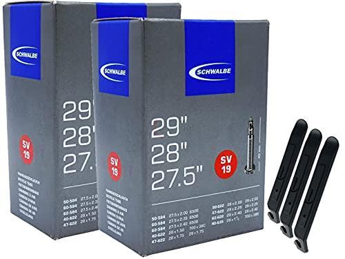 pneugo! Schwalbe - Set di 2 camere d'aria per bicicletta, 29 (28 + 27,5 pollici) Sclaverand 40-622/62-622 SV19 + 3 leve per pneumatici