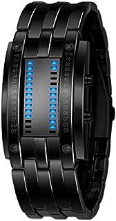 Whatsko Binary Matrix Blue LED Digital Waterproof Watch Mens Classic Creative Fashion Black Plated Wrist Watches