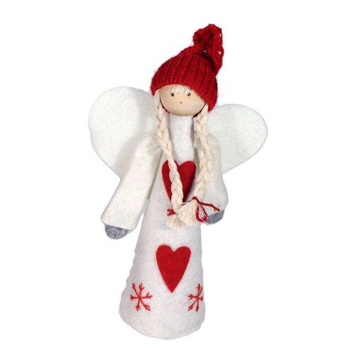 Puntale Per Albero Di Natale In Feltro, A Forma Di Angelo/Babbo Natale Angelo Con Vestito Bianco E Cappello Rosso