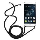 OUJD Funda con Cuerda para Huawei P9 Lite - Carcasa Ultra Delgado Transparente TPU Suave Silicona Case con Correa Colgante Ajustable - Negro