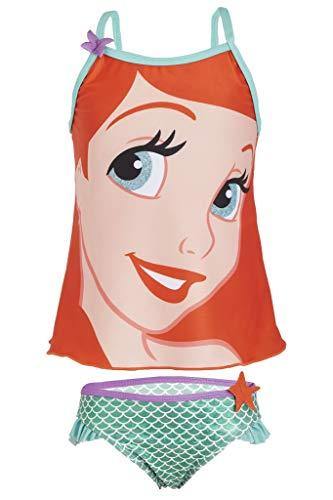 Disney Bañador Niña Sirenita Ariel, Bikinis Niña de Dos Piezas con Estampado de Colas de Sirena, Ropa Niña Princesas Piscina Playa, Regalos para Niñas 3-7 Años