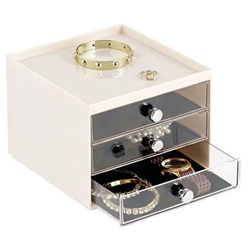mDesign Schmuck Organizer – Aufbewahrungsbox aus transparentem Kunststoff mit drei Schubladen – Schmuckaufbewahrung für Kommode oder Waschtisch – cremefarben/durchsichtig