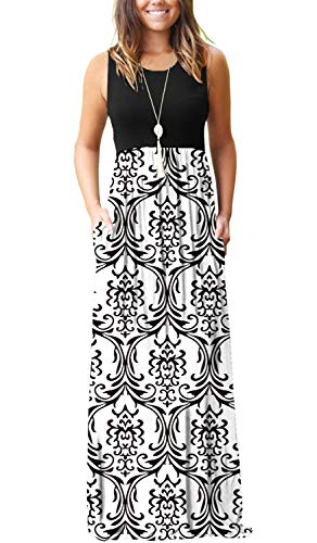 AUSELILY Women Sleeveless Loose Print Floral Pleated Casual Long Maxi Dresses with Pockets (XL, Black White)