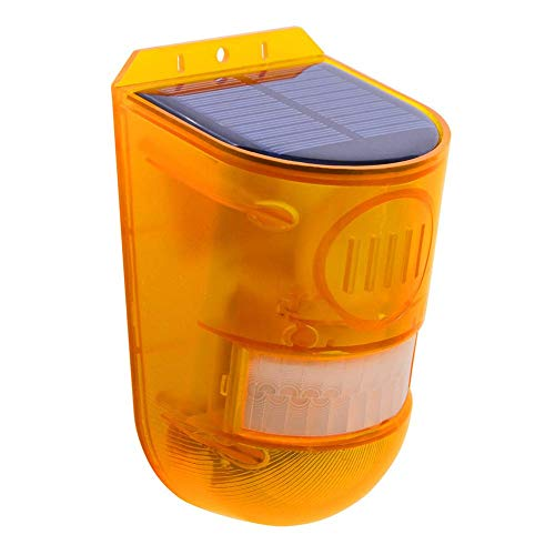 YUOKI99 Solar Luz de Seguridad Alarma, 1/2 Paquete 129dB Advertencia Ruidoso Sirena Ahorro Energía IP65 Impermeable Pir LED Sensor Movimiento Parpadeante Lámpara para Exterior Granja Granero Yarda