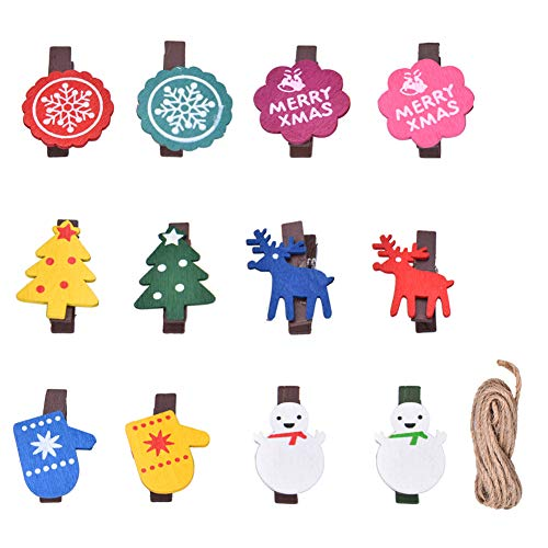 Christmas Wood Clips,60pcs Christmas DIY Photo Pegs for Home School Art Craft Decor,Mini Clip Wooden Pegs Holder Clip Card Paper Decor,Christmas Tree Elk Snowman Wood Clips with 5 Bundle Twine