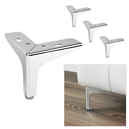 P17 Modelo Siena | Juego de 4 patas + 16 tornillos | Cromo pulido | Altura 10 cm | Patas para sofás, muebles, armarios, sillones | Patas de metal para muebles de diseño moderno y elegante |