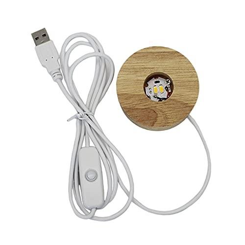 Baoblaze Base de lámpara LED, Base de exhibición de luces de madera Base de lámpara alimentada por USB soporte de bola de cristal 3D joyería de resina de - 60mm_Warm Luz