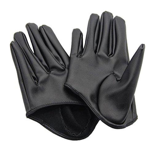 Evaliana Faux Leather Women's PU Five Finger Half Palm Party Gloves Mittens,Black,Medium