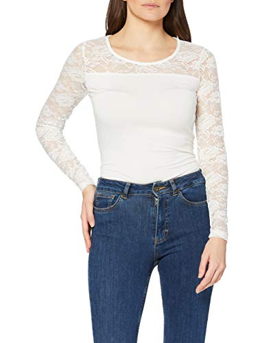 KAFFE Damen Lacy Roundneck Blouse Bluse, Weiß (Chalk 50003), Large