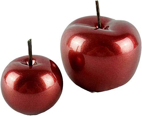 Glas Art Deko Apfel Set Aus Keramik Dekoapfel In Größen 9 x 9 cm und 7X 7 cm Moderne Keramik Wohnzimmer Figur Obst Skulpuren In 2er Set Statuen Deko Dekofiguren (Rot Metalic)