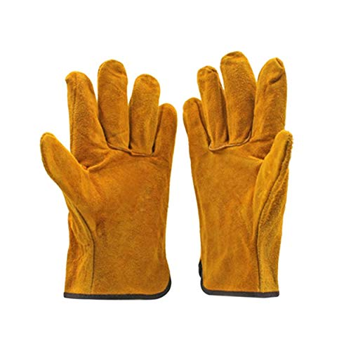 Lorenlli 1 par/juego de guantes de soldador de cuero de vaca ignífugos, guantes de seguridad para el trabajo anti-calor para soldar herramientas de mano de Metal