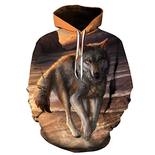 Flame Wolf Printed Hoodies Hombres 3D Sudaderas Chaquetas Pullover Moda Chándales Animal Streetwear Picture...