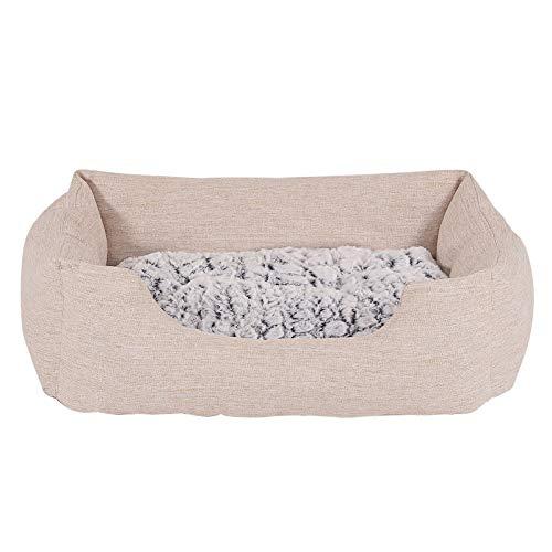 dibea Hundebett Hundekissen Hundekörbchen mit Wendekissen meliert Größe M 80x60 cm Farbe beige