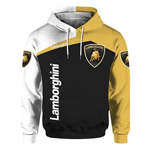 Cronell Story Unisex Langarm Hoodie 3D Digital International Lamborghini Logo Print Sweatshirt Lässiges Sweatshirt (1,S)