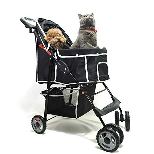 YHZMT Passeggino per Cani, Carrello da Viaggio Portatile Pieghevole, Passeggino per Cani di Medie Animali Dimensioni A Quattro Ruote (Nero), Portata Massima 20 kg