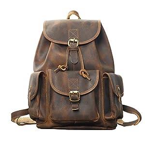 GUMU Mochila de Cuero Vintage Bandolera La Bolsa Hombro Messenger Bag Laptop Backpack Mochilas Sport para Hombres Muje