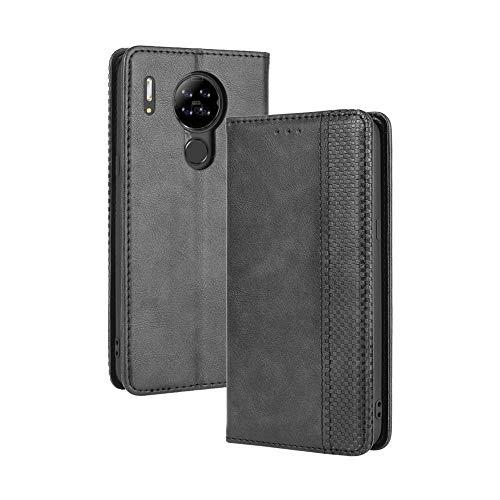 LAGUI Kompatible für Blackview A80 Hülle, Leder Flip Case Schutzhülle für Handy mit Kartenfach Stand und Magnet Funktion als Brieftasche, schwarz