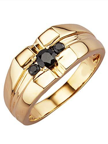 Diemer Gold Herren 585 Gelbgold Ring mit Saphir in Schwarz