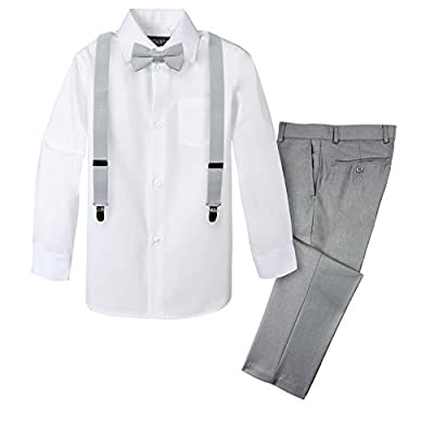 Spring Notion Boys' 4-Piece Suspender Outfit Light Grey & White Set w/Grey Suspenders 8