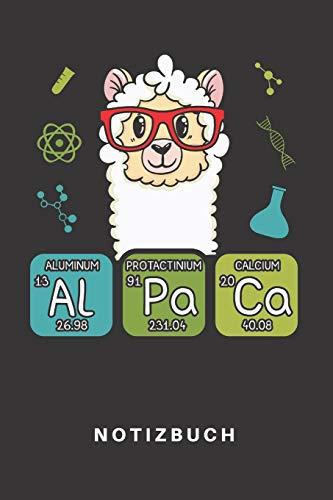 Notizbuch: Notizbuch | Notizheft | Schreibbuch | 110 Seiten | Karo | Kariert | Karos | DIN A5 | Alpaka | Wolle | Alpakas | Peru | Aluminium | Calcium ... Physik | Periodensystem | Elemente | Student