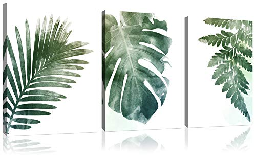 Small Fresh Green Leaf Simple Life Painting Wall Decor Canvas Wall Art For Bathroom 3 Pieces Framed Canvas Pictures Contemporary Watercolor Artwork Ready to Hang for Office Home Decoration