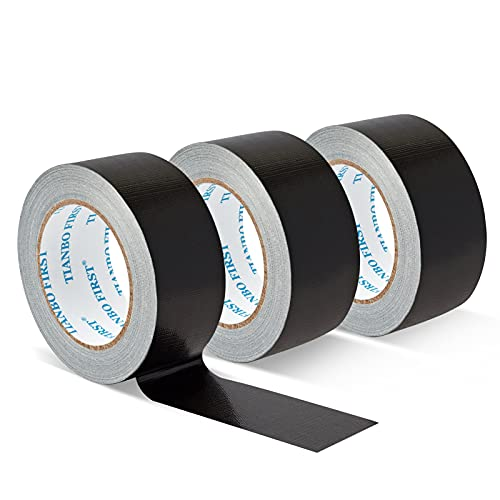 TIANBO FIRST Heavy Duty Duct Tape, Professional Grade Multi-use Duct Tape, Large Roll Commercial Duct Tape, 1.88 inches x 35 Yards, 8.27 mil Thickness, Black, 3 Rolls