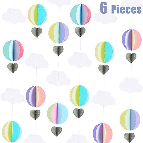WILLBOND 6 Stück Heißluftballon Girlande 3D Wolken Girlande 3D Wolken Papier Hängende Dekoration für Geburtstag Hochzeit Verlobung Baby Dusche Party Kinderzimmer Versorgung