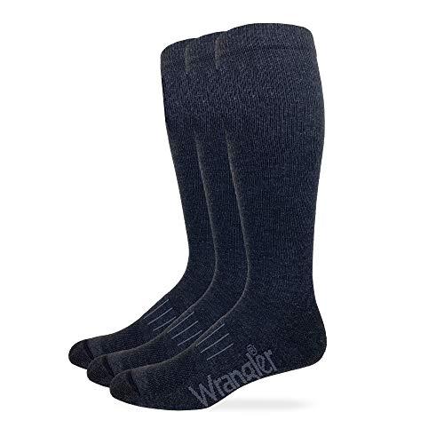 Wrangler Mens Ultra Dri Seamless Toe Western Boot Socks 3 Pair Pack (Charcoal, l)