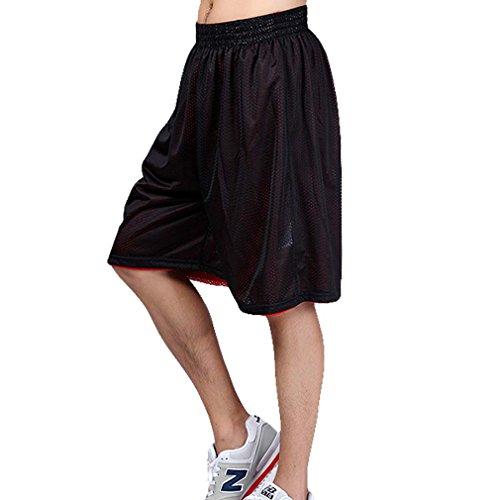 HOEREV Men's Reversible Sport Basketball Shorts, No pockets Black_Red Size...