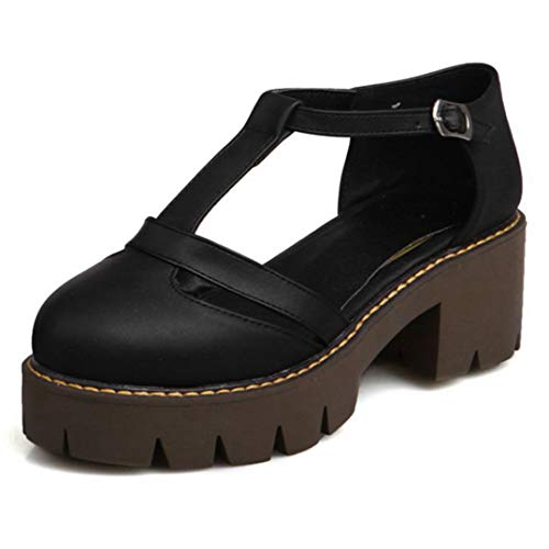 Women's Round Toe Platform Oxford Pumps Mary Jane T-Strap Chunky Block Heels Vintage Dress Oxfords Pump Black