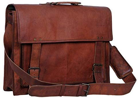 Leather Briefcase for Men and Women 18 inch Handmade Leather Messenger Bag for Laptop Best Computer Satchel School Distressed Bag by Komal's Passion Leather (Single Pocket)