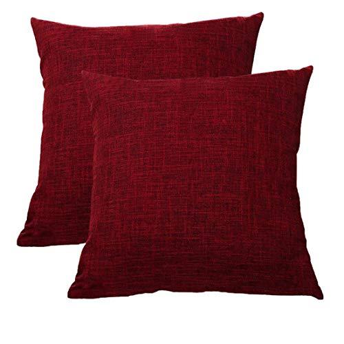 ALHXF Almohada Decorativa Fundas De Almohada 2 Pack Funda Almohada - Hogar Decoracion 40x40cm Funda De CojíN para Sofá Dormitorio Coche Decoracion Hogar (Red Wine)
