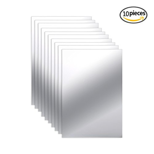 10 Pieces Mirror Sheets Self Adhesive Non Glass Mirror Tiles Wall Sticky Mirror (6 x 9 Inch)