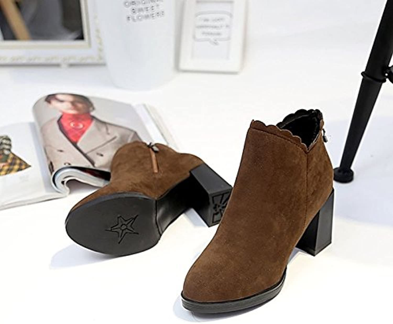 HSXZ Women's shoes PU Winter Fashion Boots Bootie Boots Chunky Heel Round Toe Booties Ankle Boots for Office\Career Dress Khaki Black