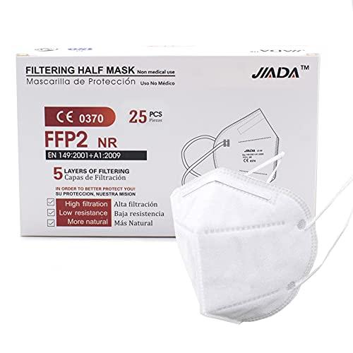 ASTORMEDIC Mascarillas FFP2 - Homologadas CE- para Adultos [25 unidades] Mascarilla de Protección con 5 capas. Alta eficiencia filtración bacteriana. Colores Blanco/Negro. Envase Individual (Blanco)