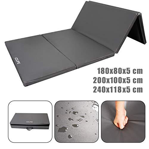 CCLIFE Turnmatte Weichbodenmatte Klappbar für zuhause Fitnessmatte Gymnastikmatte rutschfeste Sportmatte Spielmatte (240x120x5cm, Grau)