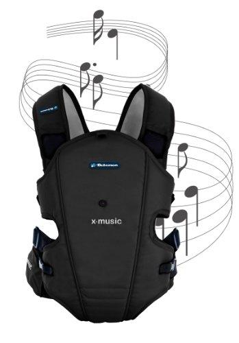 Bebemon BB002 - Mochila portabebés X-music antracite black con sistema de sonido (ideal para relajar al bebe con musicoterapia)