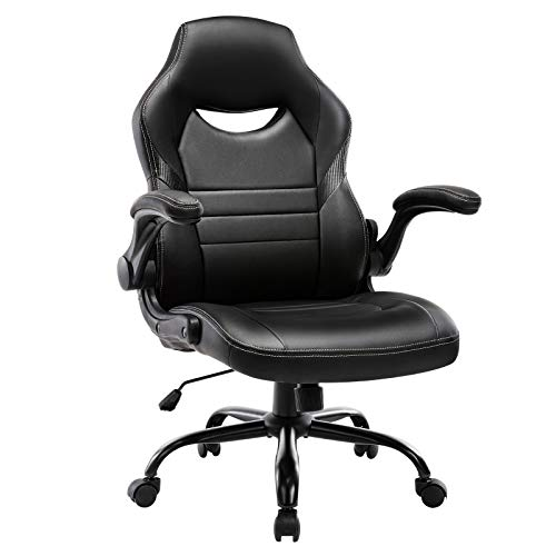 Bellehome Executive Gaming Chair Racing Computer Office Desk Chair, 360°Swivel Flip-up Arms Ergonomic Design for Lumbar Support
